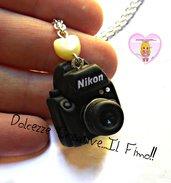 Collana macchina fotografica - Nikon - Idea regalo fotografa - miniature kawaii