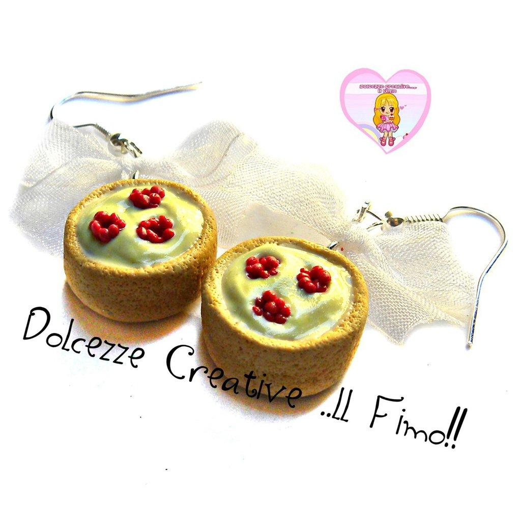 Orecchini tartine di frolla con crema e lamponi - miniature kawaii idea regalo