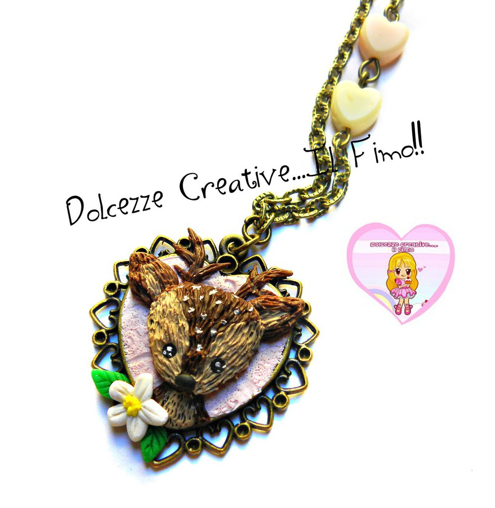Collana Cammeo a cuore con capriolo e margherite - kawaii handmade idea regalo