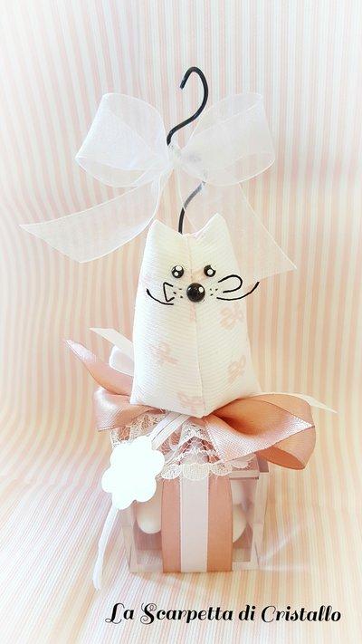 Bomboniera gattino/topolino in tessuto con scatolina
