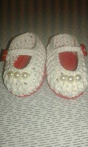 Scarpine ballerina  bambina neonata all'uncinetto cotone idea regalo