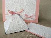 Bomboniera scatolina portaconfetti con nastro rosa per comunione cresima