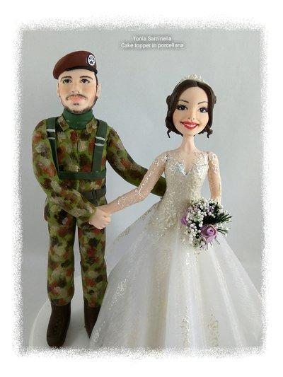 Cake topper personalizzato sposo militare paracadutista