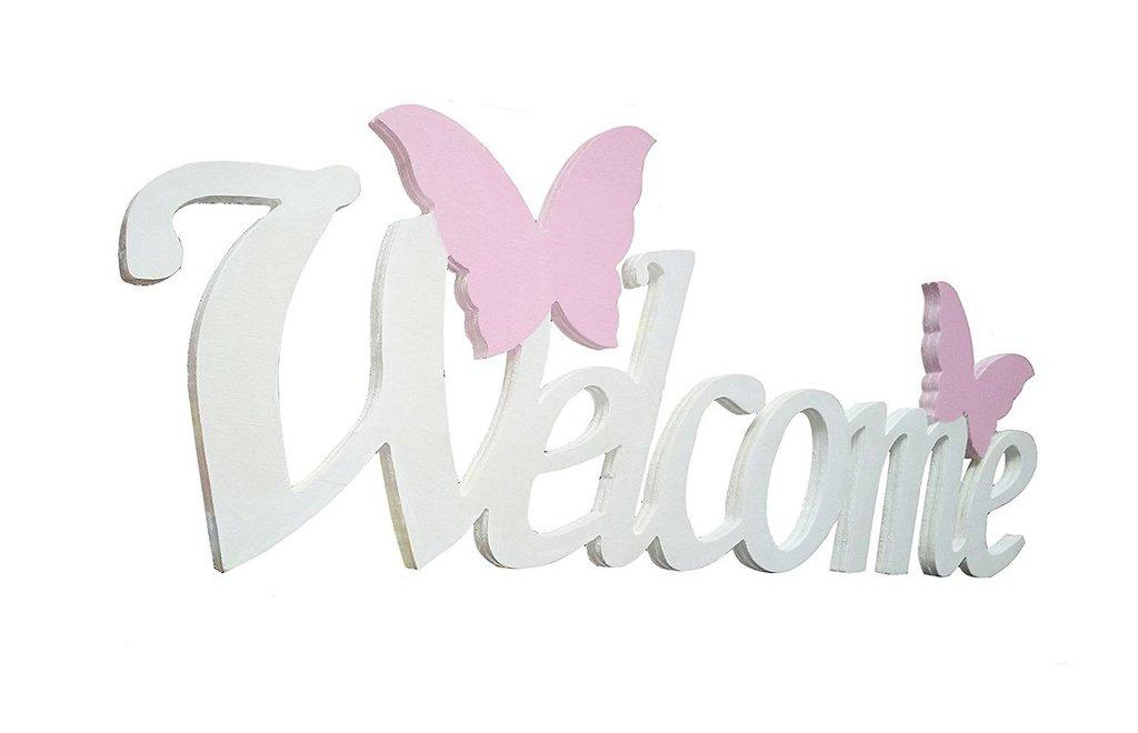 Welcome scritta in legno