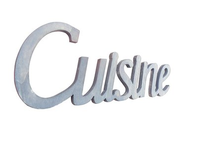 Scritta in legno Cuisine cm L 32x 12 h spessore 8 mm (azzurro pastello)