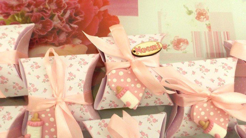 BOMBONIERA COMPLETA DELUXE - battesimo nascita compleanno PERSONALIZZATO con NOME  - scatolina confetti e ciondolo fimo shabby CUORE con biberon