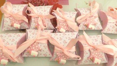 BOMBONIERA COMPLETA DELUXE - battesimo nascita compleanno - scatolina confetti e ciondolo fimo shabby STELLA con BIBERON