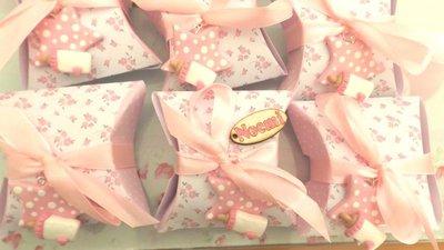 BOMBONIERA COMPLETA DELUXE - battesimo nascita compleanno PERSONALIZZATO con NOME  - scatolina confetti e ciondolo fimo shabby STELLA con BIBERON