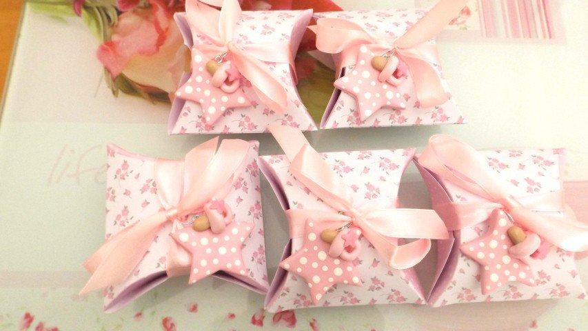 BOMBONIERA COMPLETA DELUXE - battesimo nascita compleanno - scatolina confetti e ciondolo fimo shabby STELLA con CIUCCIO