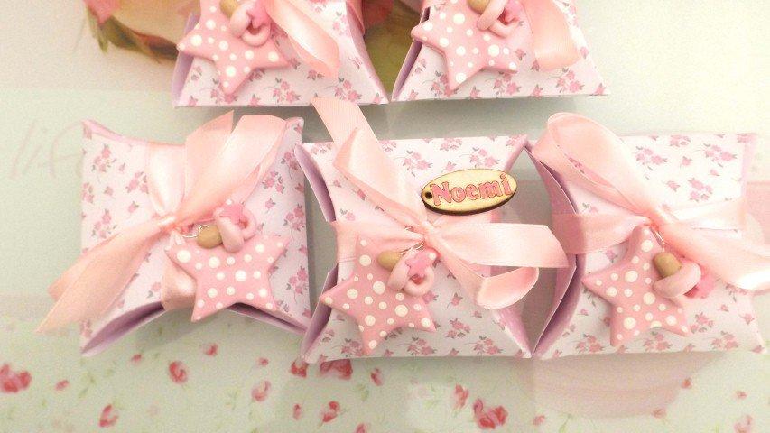 BOMBONIERA COMPLETA DELUXE - battesimo nascita compleanno PERSONALIZZATO con NOME  - scatolina confetti e ciondolo fimo shabby STELLA con CIUCCIO