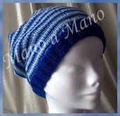 Cappello abbondante - Blu celeste bianco