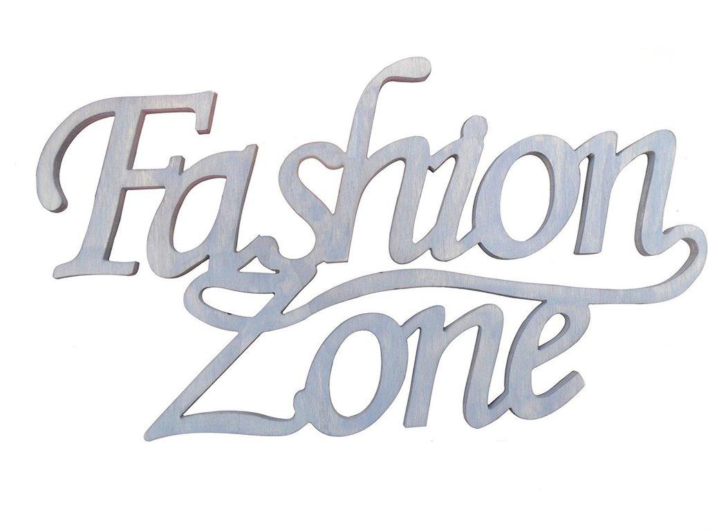 Scritta in legno fashion zone. (azzurro jeans)