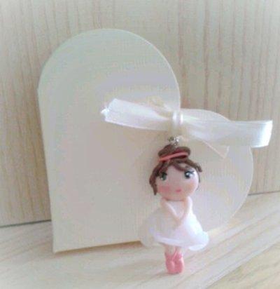 Bomboniera ballerina in fimo nascita battesimo comunione cresima compleanno