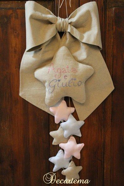 "Fiocco nascita rustico elegante ""stelline"" gemelli"