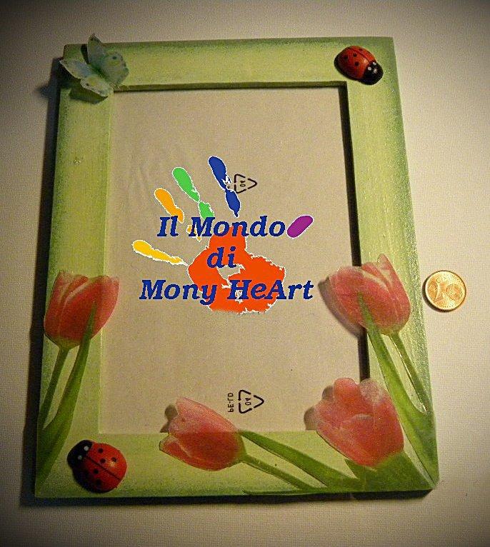 portafoto in legno con decoupage in 2d in acetato trasparente, decorato a mano (tema: tulipani)