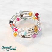 Bracciale armonico con perle tonde di agata multicolore