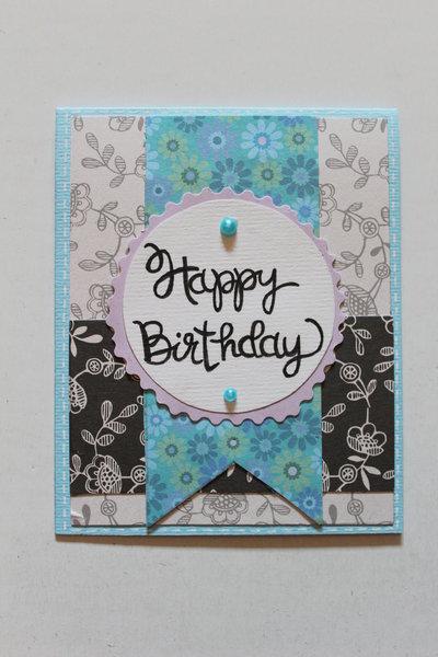 Biglietto Auguri Compleanno - Happy Birthday Fiorato