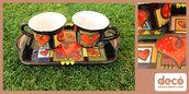Tazzine con piattino in ceramica dipinta a mano