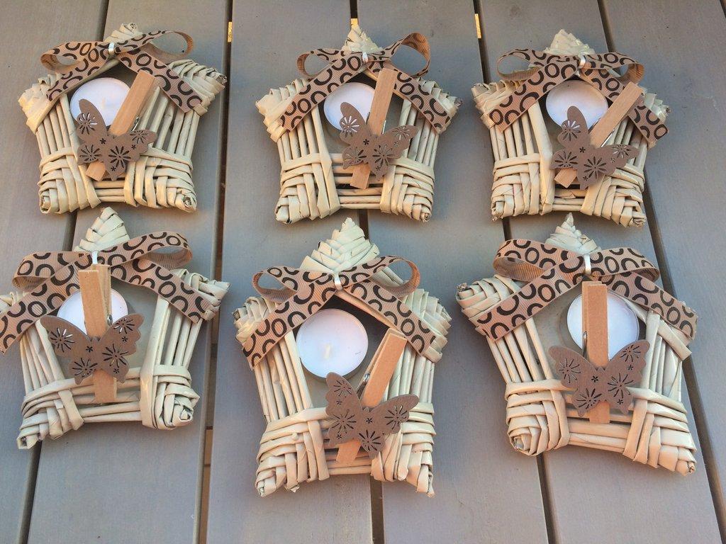 Stelle porta candele di carta riciclata