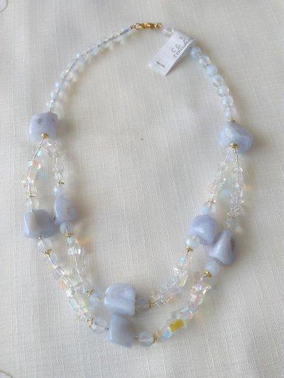 collana girocollo a 2 giri con pietre dure [ calcedonio ] e mezzo cristallo