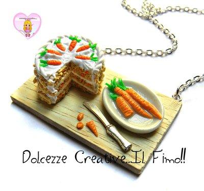 Collana Vassoio Preparazione Torta alle carote - Carrot cake glassata - handmade idea regalo