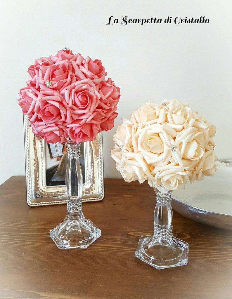 Centrotavola di rose in foam decorazione matrimonio/casa
