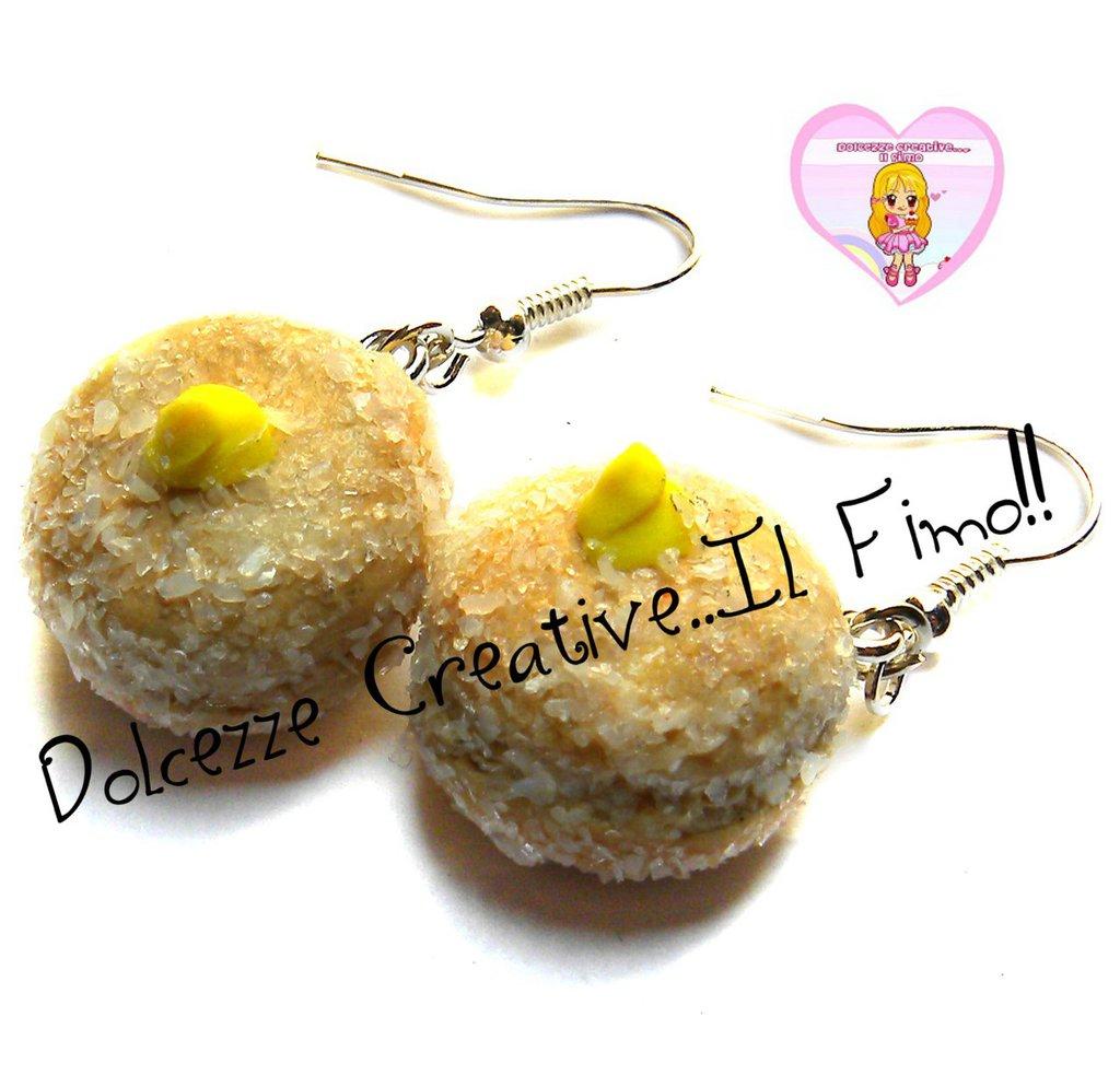 Orecchini Krapfen- ciambelle -  in miniatura ripiene di crema e ricoperti di zucchero - handmade