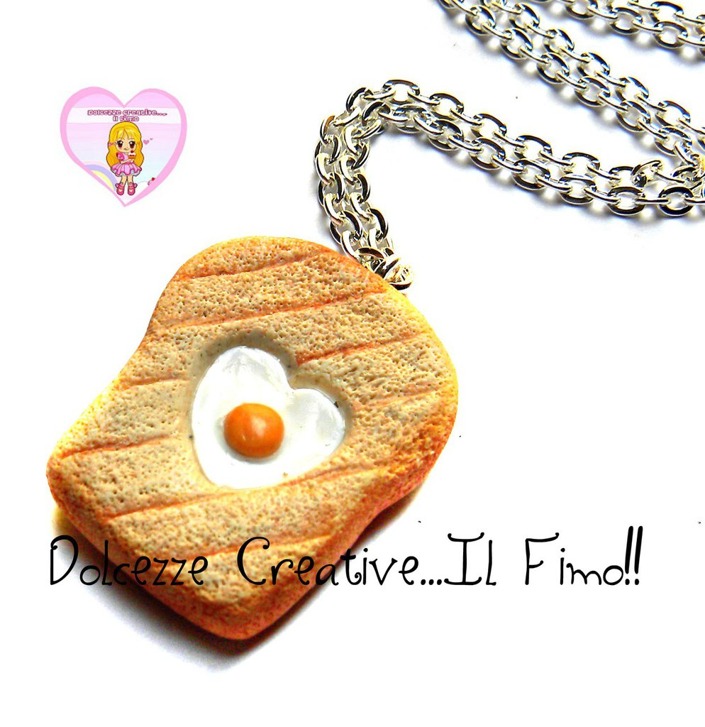 Collana Con toast in miniatura con uovo - idea regalo fimo kawaii