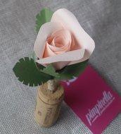 Segnaposto matrimonio sughero rosa carta Cena tema vino
