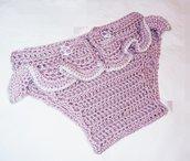 copripannolino bebe fatto a uncinetto rosa antico croschet