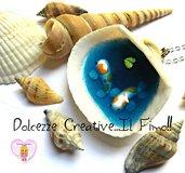 Collana Mare - conchiglia con Carpe koi e foglie - miniature handmade kawaii