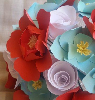 Bouquet fiori carta Sposa Corallo Azzurro