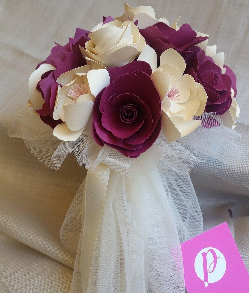 Bouquet piccolo carta Sposa Avorio Viola Tulle