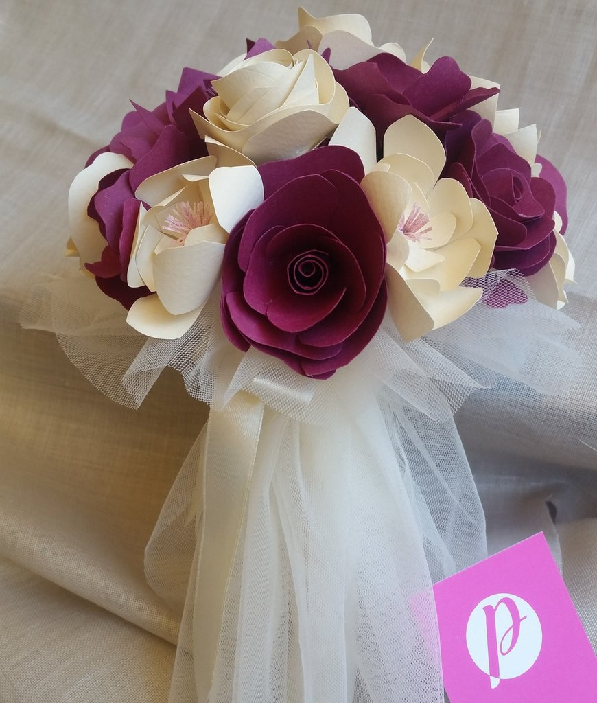 Bouquet Sposa Carta.Bouquet Piccolo Carta Sposa Avorio Viola Tulle Feste