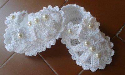 Sandali scarpine cotone per neonata estive cerimonia bianche perline Uncinetto homemade