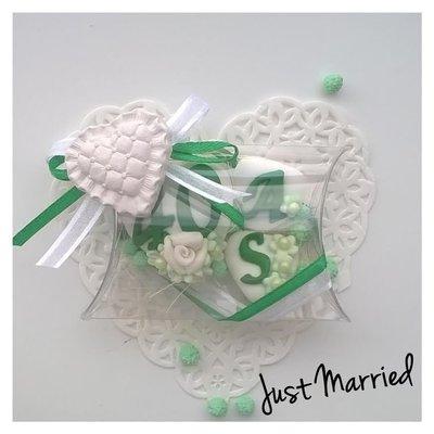confettata anniversario di marimonio, confetti decorati, gessetto, verde smeraldo