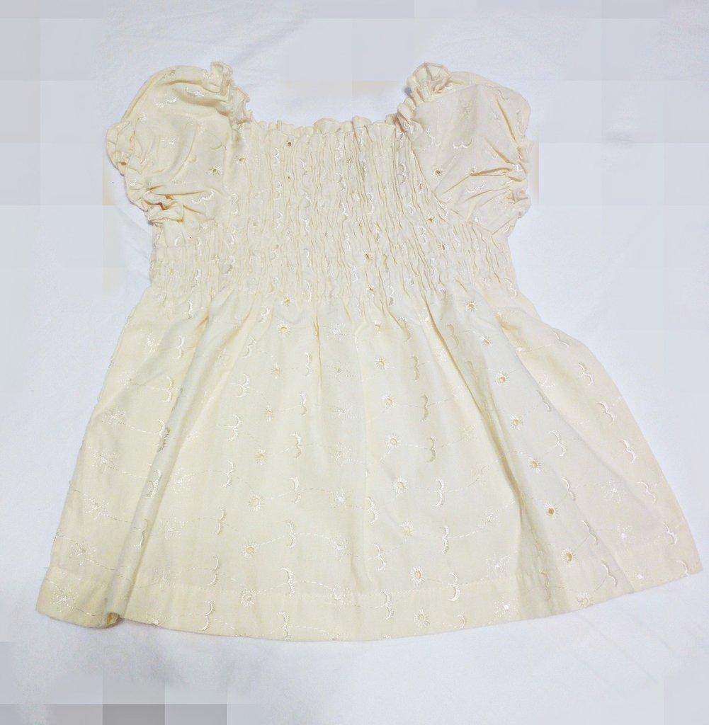 abitino vestitino neonata bebe fatto a mano colore giallino