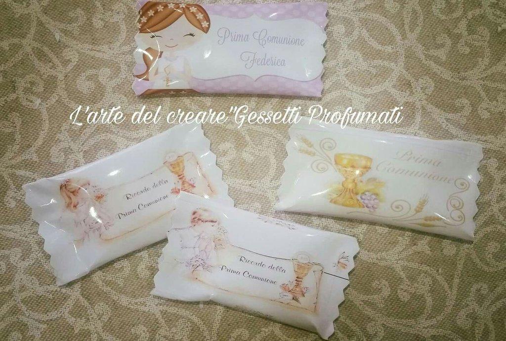 10 Caramelle Personalizzate PRIMA COMUNIONE Festa Party Bustine confetti
