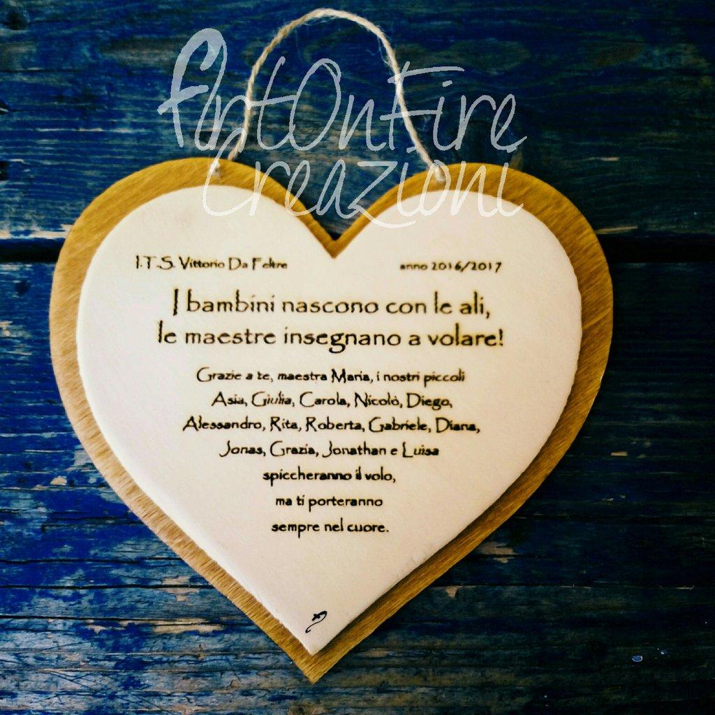 Targhetta cuore in legno con incisione personalizzata