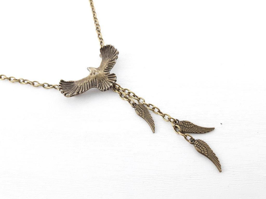 Catena con bronzo ciondolo volante Aquila