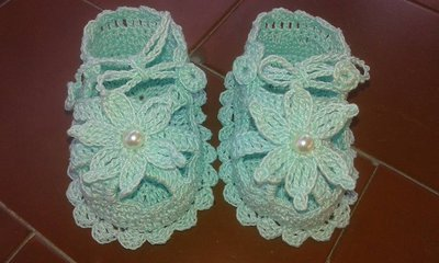 SANDALI Scarpine neonata all'uncinetto sandalini cotone verde acqua 8,5 cm homemade idea regalo