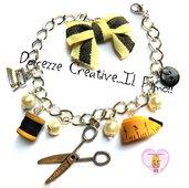 Bracciale Sarta - bottoni, rocchetto cotone,ferro da stiro, forbici, metro - idea regalo sarta handmade
