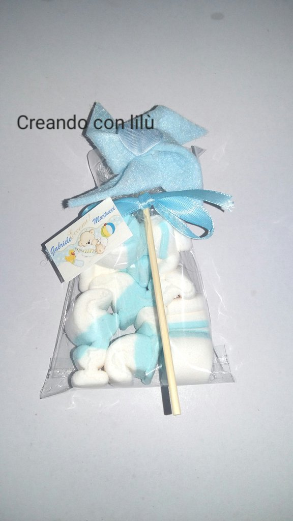 Bomboniera segnaposto girandola feltro con marshmallow