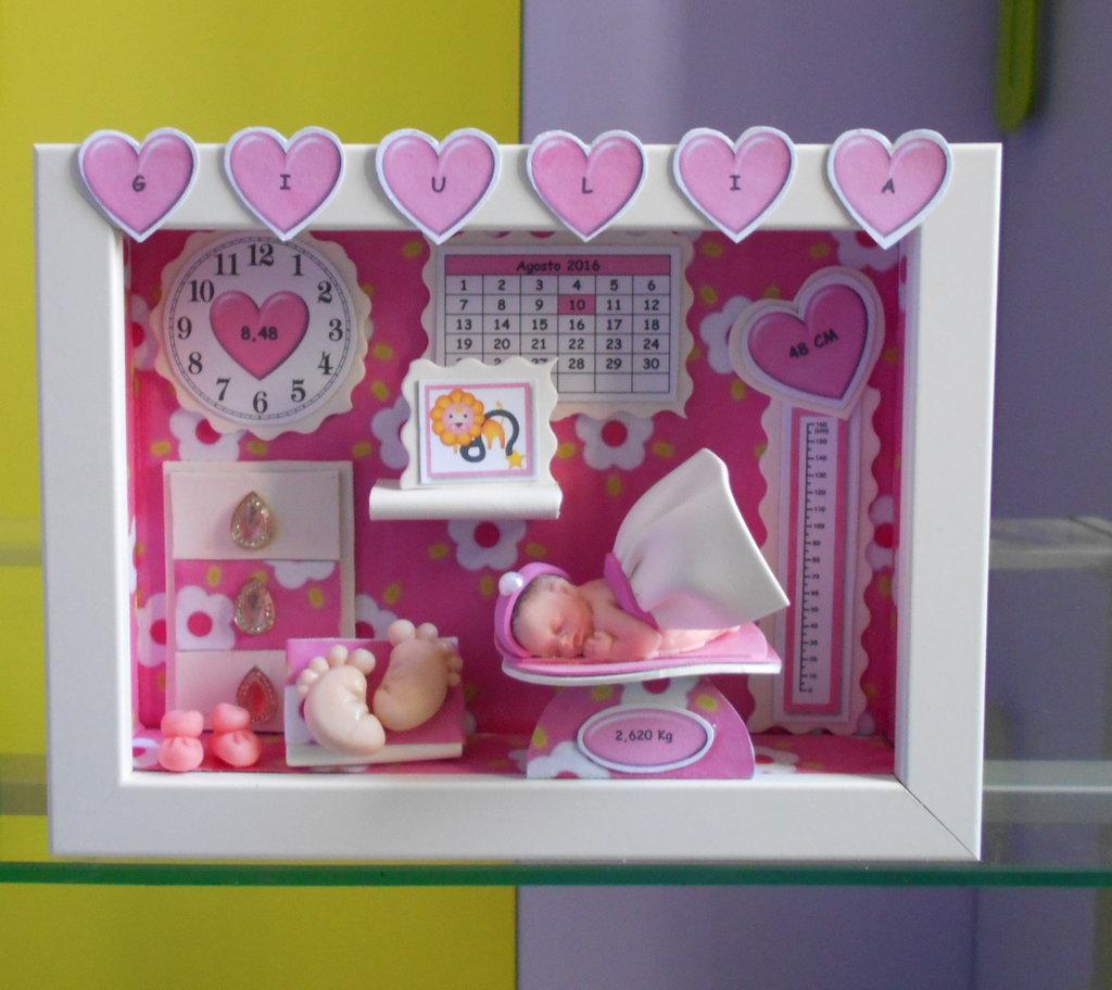 Quadretto nascita personalizzabile decorato tutto a mano