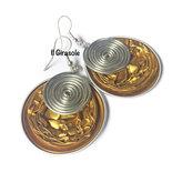 Orecchini cialde di caffè oro e spirale in filo wire argentato pendenti