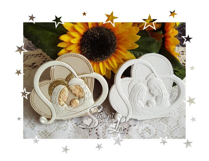 Stampo *Due cuori stilizzati con Sacra Famiglia*