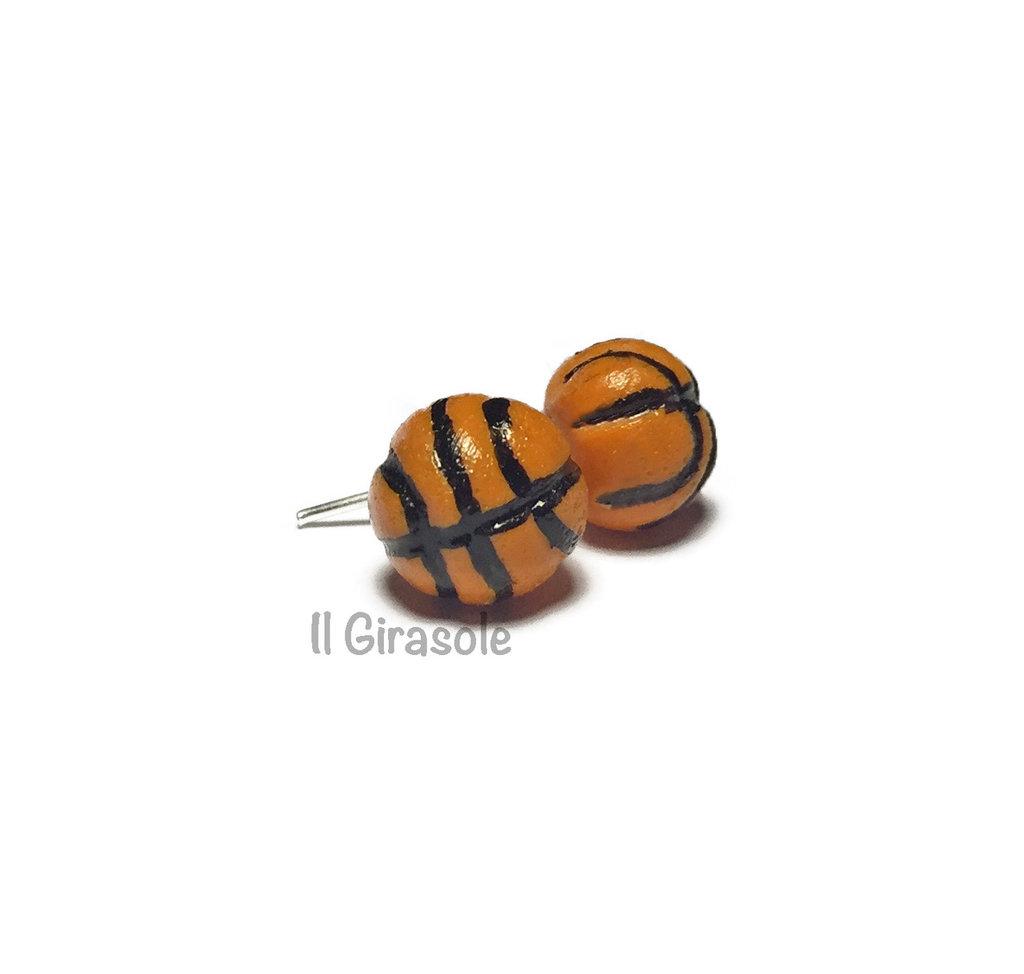 Orecchini palla da basket a perno in pasta polimerica fimo