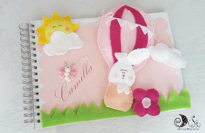 Album fotografico battesimo, nascita bimba personalizzato con mongolfiera e coniglietto