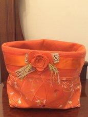 Cestino arancio cucito