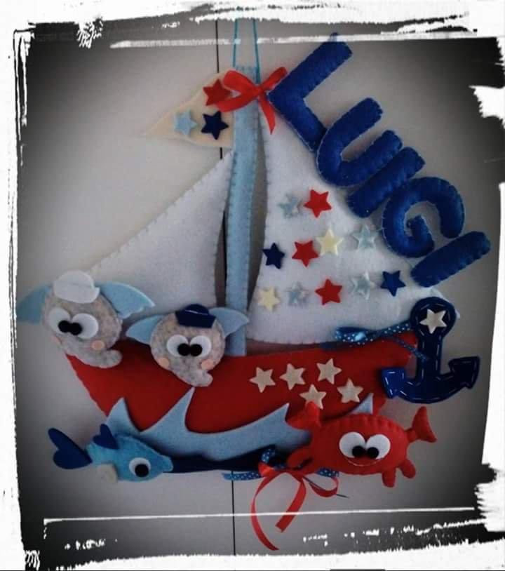 """Fiocco nascita """"barca a vela"""""""